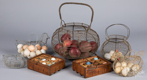 Five wire egg/apple baskets, early/mid 20th c.