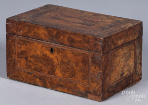 Inlaid burl dresser box, 19th c.