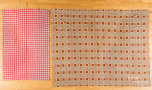 Red and white checked bed ticking cover, 19th c.