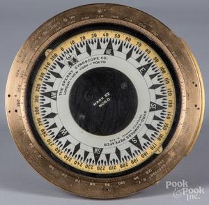 Sperry Gyroscope ship's brass compass, ca. 1900