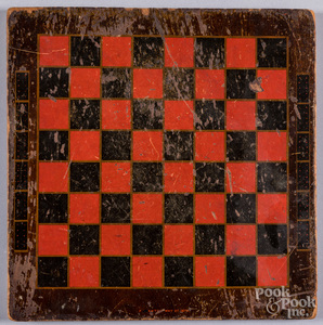Painted double sided mahogany game board