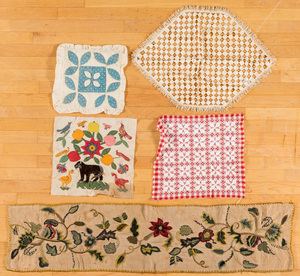 Group of pillow covers, quilt blocks, etc.