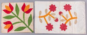 Two Pennsylvania appliqu' pillow covers