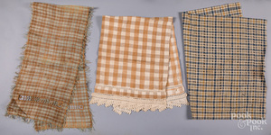 Brown and white checked homespun show towels, etc.