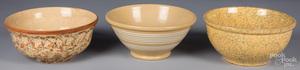 Three yellowware bowls, 19th c.