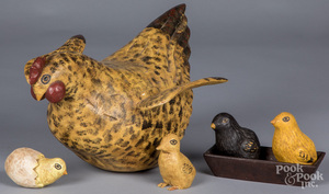 Walter Gottshall carved and painted hen and chicks