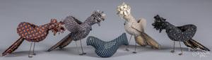 Five fabric birds, 20th c., tallest - 5 1/2