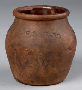 Small redware jar, 19th c., stamped A. H. Shepard