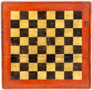 Painted pine gameboard, early 20th c.