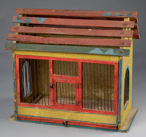 Painted pine birdcage, ca. 1900