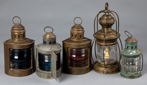 Five ship's lanterns, 19th and 20th c.