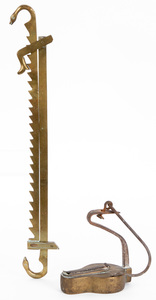 Unusual brass and iron betty lamp, 19th c.