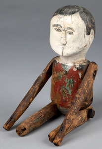 Folk Art carved and painted jointed man, 19th c.