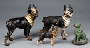 Three cast iron Boston terrier doorstops