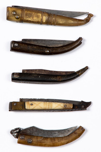 Five Colonial era clasp knives, 18th c.