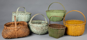 Five painted splint baskets, 19th c.