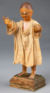Carved and painted Santo figure, 19th c.