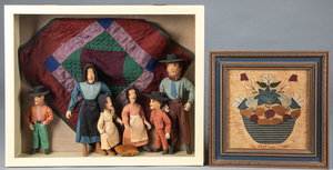 Cloth Amish family diorama, with quilt
