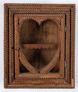 Tramp art hanging cabinet, ca. 1900