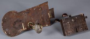 Massive wrought iron door lock, ca. 1800