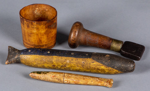 Two wooden sail makers needle cases, 19th c.