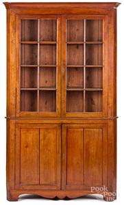 Virginia walnut one-piece corner cupboard