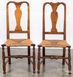 Pair of New England Queen Anne rush seat chairs