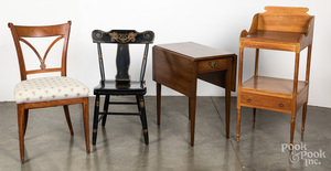 Two side chairs, 19th c., etc.