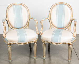 Pair of French style painted armchairs.