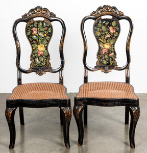 Pair of Victorian painted cane seat chairs.