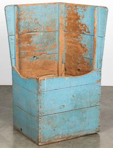 Primitive painted pine corner bin, 19th c.