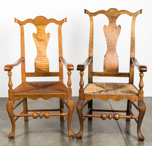 Two bench made Savery style tiger maple armchairs