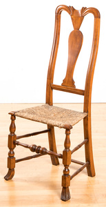 New England rush seat side chair, 18th c.