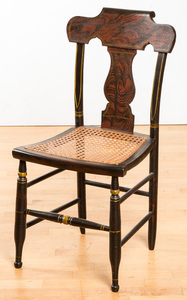 Painted cane seat fancy chair, 19th c.