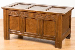 George I carved oak blanket chest, ca. 1700