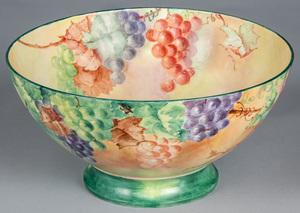 Limoges painted porcelain punch bowl