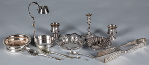 Silver plate, to include a Sheffield taperstick