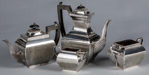 English silver plated tea service.