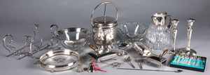 Silver plate, glass bowls, etc.