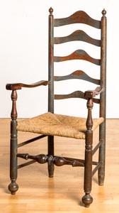 Delaware Valley painted ladderback armchair