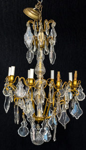 Crystal and brass chandelier, 31