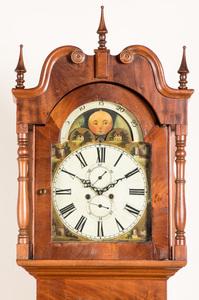 English mahogany tall case clock early 19th c.