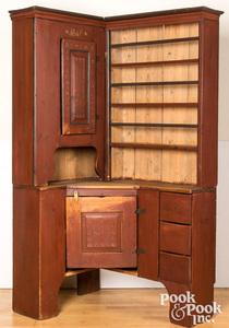 Scandinavian painted pine corner cupboard