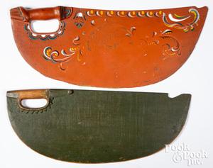 Two Scandinavian painted scutching knives, 19th c.