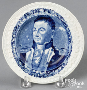 Historical Blue Staffordshire Welcome Lafayette to