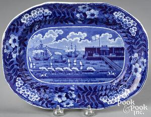 Historical Blue Staffordshire Landing of Lafayette